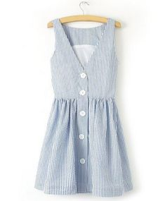 Blue & White Pinstripe Summer Dress