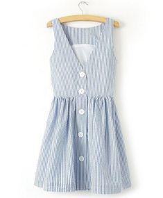Blue White Pinstripe Summer Dress