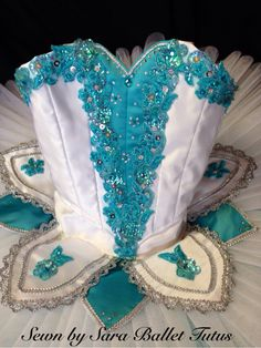 Child's white and turquoise classical ballet tutu. Www.sewnbysaratutus.weebly.com