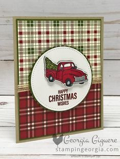 Farmhouse Christmas Card features that adorable truck and the Festive Farmhouse … – Christmas DIY Holiday Cards Happy Christmas Wishes, Christmas Cards 2018, Homemade Christmas Cards, Christmas Truck, Stampin Up Christmas, Xmas Cards, Homemade Cards, Handmade Christmas, Holiday Cards
