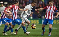 Download wallpapers Cristiano Ronaldo, Real Madrid, Spain, La Liga, football match, Atletico Madrid, Portuguese footballer