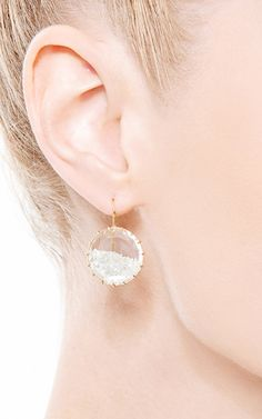 One of a Kind Small White Shake Diamond Earrings by Renee Lewis for Preorder on Moda Operandi
