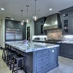 kitchens - gray cabinets to ceiling with molding