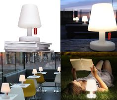 fatboy Edison the Petit: rechargable outdoor table lamp. Edison The Petit, the little lamp lights up from head to toe in three settings, lighting up your life for 6 to 24 hours before it needs to be charged. Perfect for garden, terrace or dining table. Outdoor Table Lamps, Dining Table, Outdoor Furniture, Indoor Outdoor, Outdoor Living, Lampada Edison, Lamp Light, Light Up, Restaurant
