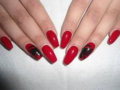 Albanian Flag painted on Gel nails