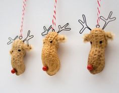 Christmas Reindeer Ornaments - whimsical painted peanuts / cute idea