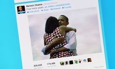 Barack Obama embracing his wife Michelle in a Twitter picture