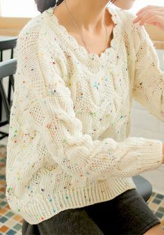 Colorful Dots Ruffle Crew Neck Sweater