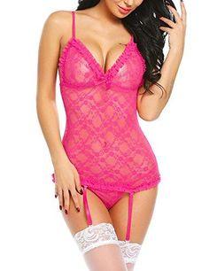 50de60d23f2e5 Women Sexy Lingerie Set Lace Babydoll Chemise With Garters For Honeymoon
