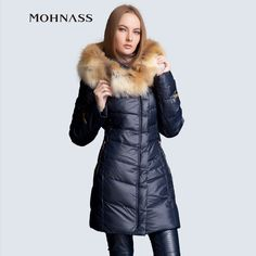 MOHNASS 2014 Winter Women's Down thick Jacket Fashion Tops Slim Coat Free Shipping Hooded Large Natural Fox Fur Collar 3A7188 US $132.62 To Buy Or See Another Product Click On This Link  http://goo.gl/yekAoR
