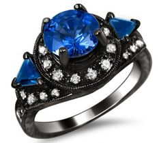 2.10ct Blue Round Sapphire Halo Diamond Engagement Ring 14k Black Gold