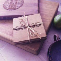 Custom Engraved Bamboo Coasters Personalized Coaster by woodbemine