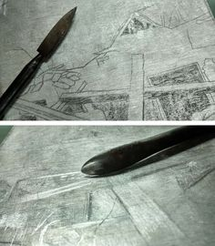 Laura Kozma: PRINTING Project - day 3 …starting a mezzotint plate too