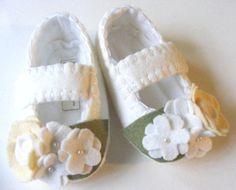 Baby Girl Shoes Felt Baby Booties White Mary by ShesSoCraftyGoods1, $28.00