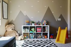 Playroom by The Winter Lane! Ikea, target, mountain mural, cloud vinyl decal, toy organization, book organization, quote art, kids room, toy storage, rug, budget playroom, modern playroom,