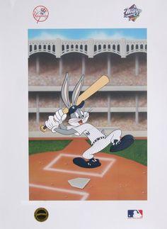 Warner Bros Bugs Bunny NY Yankees Lithograph