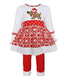 This White & Red Christmas Dog Dress & Leggings - Infant, Kids & Tween is perfect! #zulilyfinds