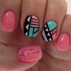 Tribal geometric aztec nail art design Nail Art Tribal, Tribal Nails, Geometric Nail Art, Indian Nails, Tumblr Nail Art, Nailart, Wow Nails, Beauty Hacks Nails, Different Nail Designs