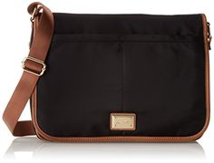 01 Calvin Klein Dressy Nylon Messenger Bag  - Black/Gold