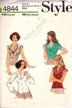 Style 4844 Womens Boho Blouses 1970s Vintage Sewing Pattern Size 8 Bust 31 1/2 inches UNCUT Factory Folded Blouse Patterns, Clothing Patterns, Style Patterns, Clothing Ideas, 1970 Style, Vintage Fashion, Vintage Style, Women's Fashion, Vintage Sewing Patterns