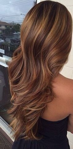 highlights in brown and caramel #Highlightsbrownhair