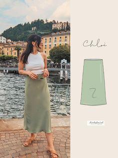 Make a midi skirt using our Chloe pattern. Make your own skirt this summer. Satin Midi Skirt, Skirt Patterns Sewing, Skirt Tutorial, Print Layout, Diy Clothing, Cool Fabric, Digital Pattern, Chloe, Classy