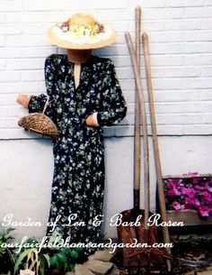 DIY Project Wood Scrap Scarecrow ~ My Garden Maiden   http://ourfairfieldhomeandgarden.com/diy-project-wood-scrap-scarecrow-my-garden-maiden/