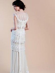 Bridal Gowns: Claire Pettibone Sheath Wedding Dress with Square Neckline and Empire Waist Waistline