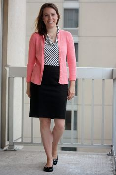 Coral Lilly Pulitzer cardigan, black and white striped tank, black skirt, and black Cole Haan flats - wear to work - www.fashionablyemployed.com