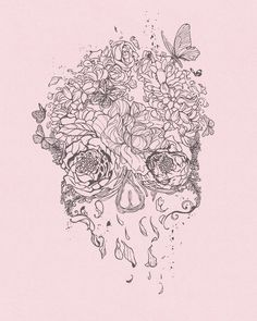 skull illustration- perfect for a tatoo Beautiful Tattoos, Cool Tattoos, Tatoos, Skull Tattoos, Art Tattoos, Sick Tattoo, Tattoo Caveira, Skull Illustration, Candy Skulls
