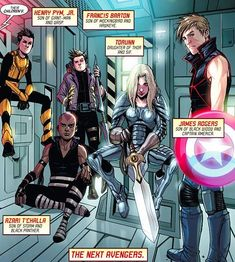 Can we talk about the fact that Natasha and Steve's son is named after Bucky, and that Thor and Sif's daughter looks incredibly badass Avengers World<< This is actually a cartoon movie called Next Avengers: Heroes of Tomorrow Avengers Comics, Next Avengers, Heros Comics, Young Avengers, Marvel Memes, Pawer Rangers, Fandoms, Oui Oui, The Villain