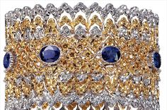 Buccellati All of this is handmade, all done by a jeweler, line by line,45,000 gold cuff encrusted with sapphires, diamonds and gold.