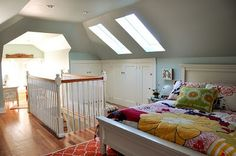 attic turned master suite  the skylights are such a good idea to add more natural light