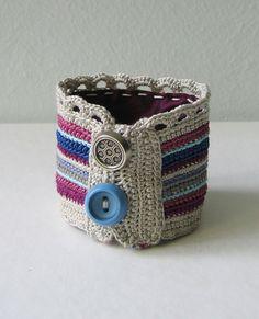 Greypurpleblue crochet cuff by pompomdesign on Etsy, $33.00