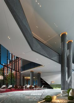 We think this will inspire growth of new ideas Office Building Lobby, Arch Building, Office Lobby, Arch Interior, Home Interior Design, Interior Architecture, Column Design, Lobby Design, Lounge Design