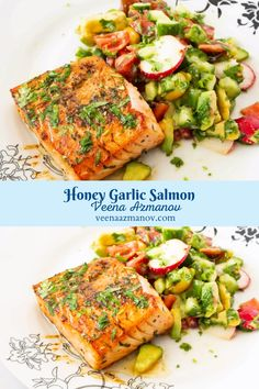 This easy honey garlic salmon is a one-pot recipe that gets done in less than 20 minutes and needs only 6 ingredients most of which are pantry staples. Garlicky, tangy, and sweet this will soon become your next favorite fish meal #honeygarlicsalmon #honeysalmon #garlicsalmon #salmon #salmonrecipe #fishrecipes #salmondinner #cookedsalmon