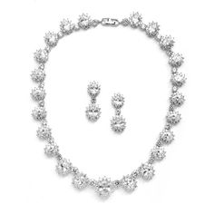 Regal Wedding Necklace Set with Round Cubic Zirconia Stones