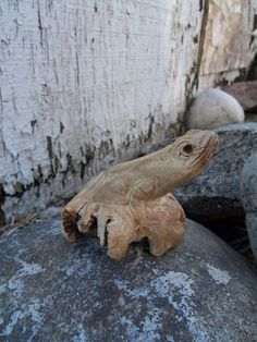 Charming Little Hand Carved Burl Wood Frog by bettyrayvintage, $22.00