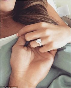 Still in love: JoJo Fletcher and Jordan Rodgers are still going strong; star shared a close up view of her enormous engagement ring on Saturday