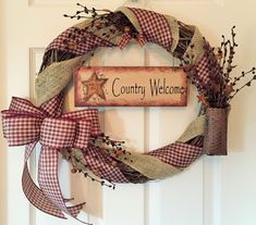 Grapevine Wreath with Burlap and Gingham Ribbon; Primitive Wreath; Country Wreath; Welcome Wreath; Rustic Wreath; Front Door Wreath by ChewsieCreations on Etsy
