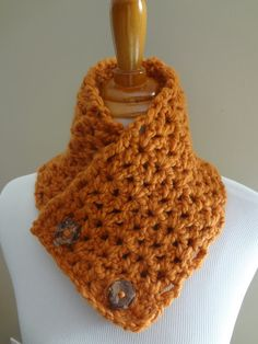 Free Crochet Pattern...Butternut Squash Neckwarmer! (looks like a simple dbl crochet stitch with a chunky yarn and big needle... Quick gift idea.)