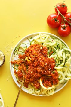 AMAZING SPIRALIZED Zucchini Pasta with Vegan Lentil Red Sauce! 30 minutes, so hearty and healthy! #vegan #glutenfree #pasta #zucchini #recipe