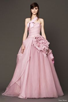 vera wang fall 2014 bridal pink wedding dress