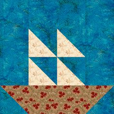 "12"" Boats at Sea Quilt Block Pattern"