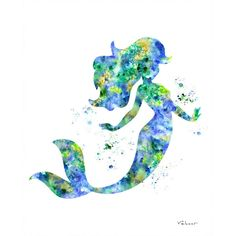 Mermaid print, Mermaid watercolor print, Ariel print, Disney Ariel,... ($12) ❤ liked on Polyvore featuring home, home decor, wall art, backgrounds, blue home accessories, disney, mermaid home decor, water color painting and blue home decor