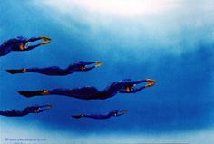 "OLYMPIC GAMES 2012, Aug 4th: Swimming Women's 50m Freestyle Final  pic: ""COMBINAISON D'ATTAQUE""  - Figure of assault - oil on canvas by Pascal Lecocq, The Painter of Blue ®, 9 1/2""x13"" 24x33cm, 1997, lec456, private collection Ferney, France. © www.pascal-lecocq.com."