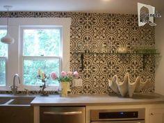 Custom Made Custom Tile Kitchen Backsplash - Granada Cement Tile