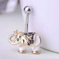 Elephant Belly Button Rings Piercing Fine or Fashion: Fashion Item Type: Body Jewelry Style: Trendy Body Jewelry Type: Navel & Bell Button Rings Material: Lucite Metals Type: Tin Alloy Shapepattern: