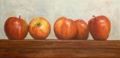 Apple Line-up Oil Painting Still Life Fruit Art Apple Kitchen, painting by artist Debra Sisson
