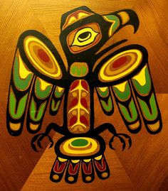 Canadian Northwest coast Native American Indian art on a wooden ...